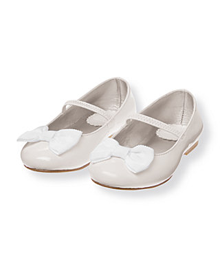 Pure White Bow Patent Leather Ballet Flat at JanieandJack