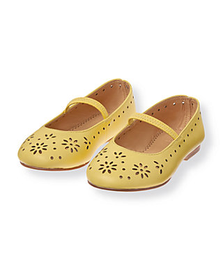 Soft Daffodil Yellow Eyelet Leather Ballet Flat at JanieandJack
