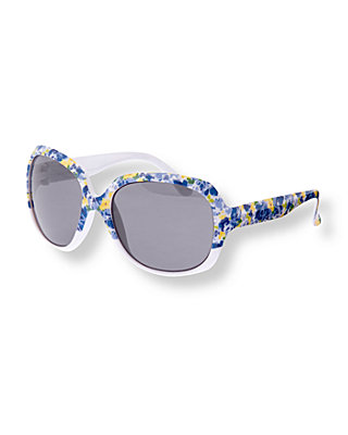 French Blue Floral Floral Sunglasses at JanieandJack