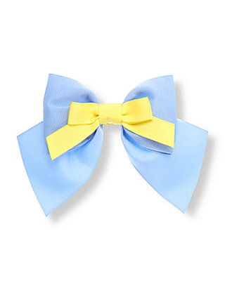 French Blue/Yellow Double Bow Barrette at JanieandJack