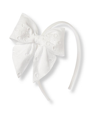 Pure White Eyelet Bow Headband at JanieandJack