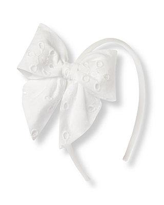 Pure White Eyelet Bow Headband at JanieandJack