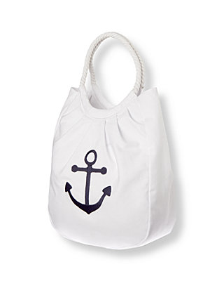Pure White Anchor Canvas Tote Bag at JanieandJack