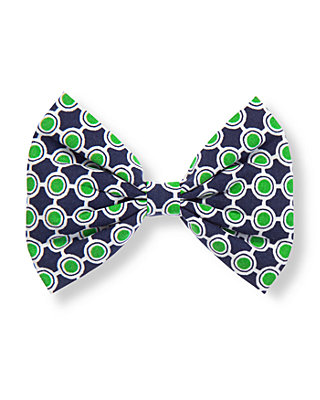 Green/Navy Geometric Geometric Print Bow Barrette at JanieandJack