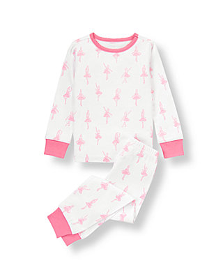 White/Pink Ballerina Pajama Set at JanieandJack