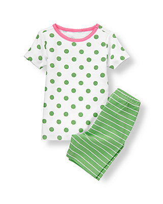 White/Green Dot Stripe Short Pajama Set at JanieandJack