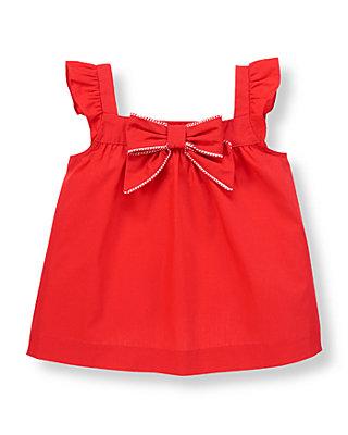Vintage Red Bow Ruffle Sleeve Top at JanieandJack
