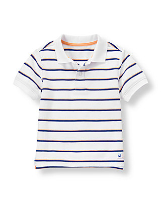 Pure White Stripe Stripe Polo Shirt at JanieandJack