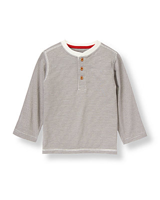 Winter Grey Stripe Stripe Henley Tee at JanieandJack