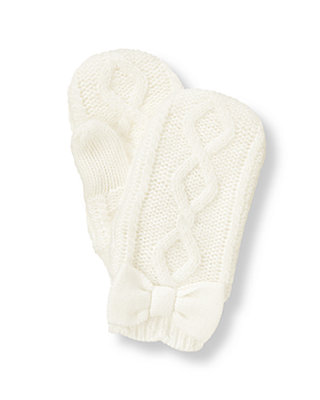 Jet Ivory Cable Sweater Mitten at JanieandJack
