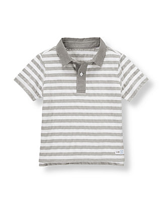 Grey Stripe Stripe Polo Shirt at JanieandJack