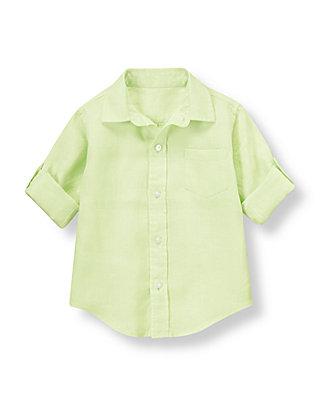 Summer Lime Linen Roll Cuff Shirt at JanieandJack