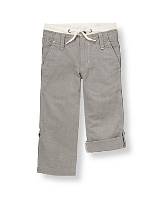 Boys Grey Oxford Roll Cuff Oxford Pant at JanieandJack