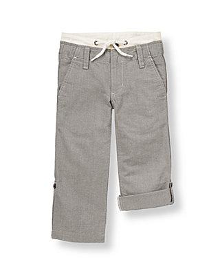 Boys Grey Oxford Roll Cuff Oxford Pant at JanieandJack