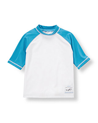 White/Reef Blue Shark Rash Guard at JanieandJack