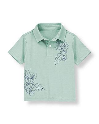 Slate Green Embroidered Flower Jersey Polo Shirt at JanieandJack