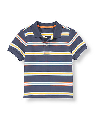 Sunwashed Indigo Stripe Stripe Pique Polo Shirt at JanieandJack