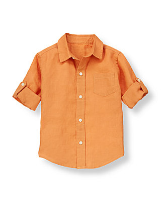 Savanna Orange Linen Roll Cuff Shirt at JanieandJack