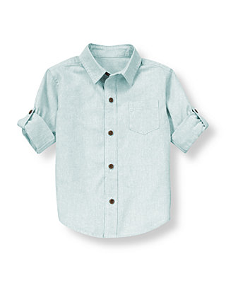 Sunwashed Blue Linen Blend Roll Cuff Shirt at JanieandJack