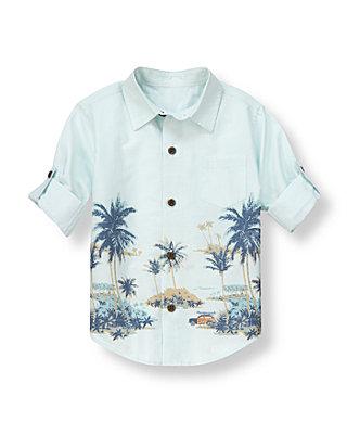 Slate Green Stripe Palm Stripe Roll Cuff Shirt at JanieandJack