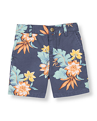 Boys Sunwashed Indigo Floral Tropical Short at JanieandJack