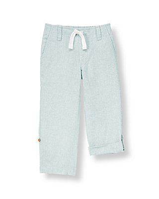 Boys Sunwashed Blue Roll Cuff Linen Blend Pant at JanieandJack