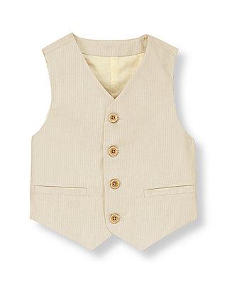 Khaki Stripe Corded Stripe Vest at JanieandJack