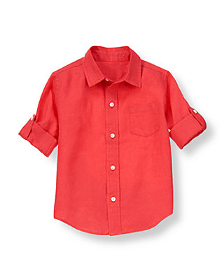 Buoy Red Linen Roll Cuff Shirt at JanieandJack