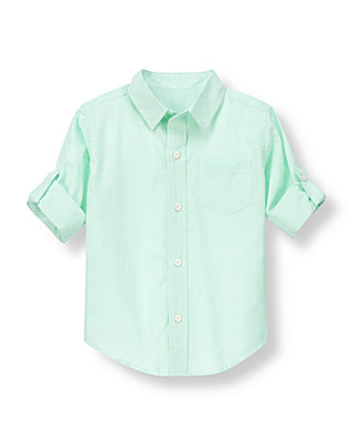 Boys Seafoam Green Stripe Striped Roll Cuff Shirt at JanieandJack