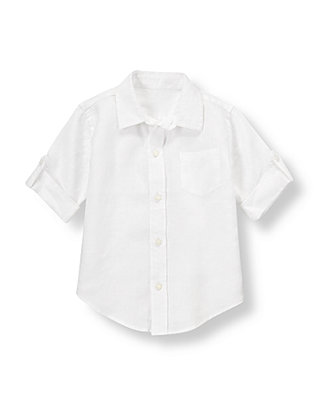 Pure White Linen Roll Cuff Shirt at JanieandJack