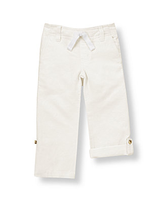 Pure White Roll Cuff Linen Blend Pant at JanieandJack