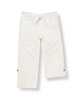 Pure White Roll Cuff Linen Blend Pant at JanieandJack