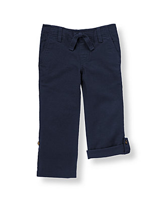 Classic Navy Roll Cuff Linen Blend Pant at JanieandJack