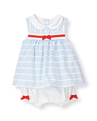 Baby Girl Pale Blue Stripe Stripe Dobby One-Piece at JanieandJack