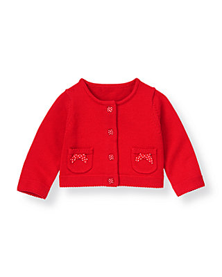 Melon Red Dot Bow Sweater Cardigan at JanieandJack