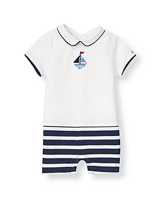 Baby Boy Pure White Sailboat Stripe One-Piece at JanieandJack