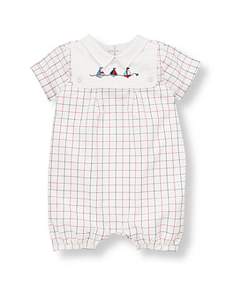 Baby Boy White Tattersall Sailboat Tattersall One-Piece at JanieandJack