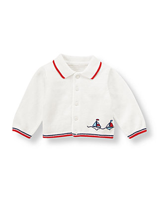Baby Boy Pure White Sailboat Cardigan at JanieandJack