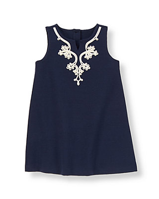 Summer Navy Soutache Ponte Dress at JanieandJack