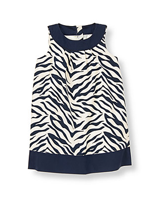 Navy Zebra Zebra Dobby Dress at JanieandJack