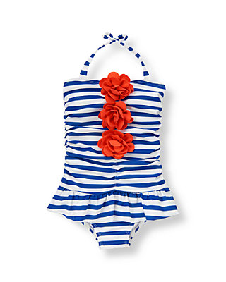 Royal Blue Stripe Corsage Stripe Swimsuit at JanieandJack