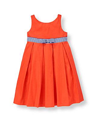 Bright Coral Stripe Sash Pleated Dobby Dress at JanieandJack