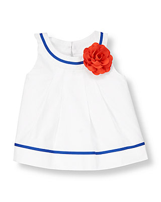 Pure White Corsage Pleated Top at JanieandJack