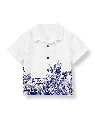 White Jungle Jungle Scene Linen Shirt at JanieandJack