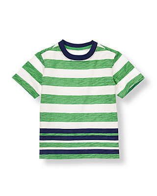 Leaf Green Stripe Striped Tee at JanieandJack