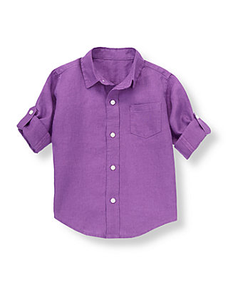 Violet Linen Roll Cuff Shirt at JanieandJack