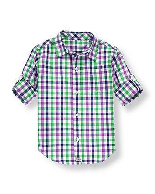 Midnight Navy Check Gingham Roll Cuff Shirt at JanieandJack