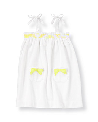 Pure White Bow Terry Swim Cover-Up at JanieandJack