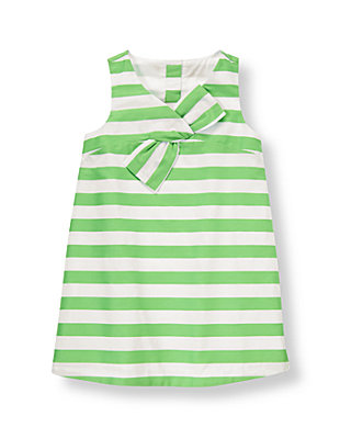 Leaf Green Stripe Stripe Sateen Dress at JanieandJack