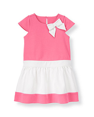 Parrot Pink Bow Colorblock Ponte Dress at JanieandJack